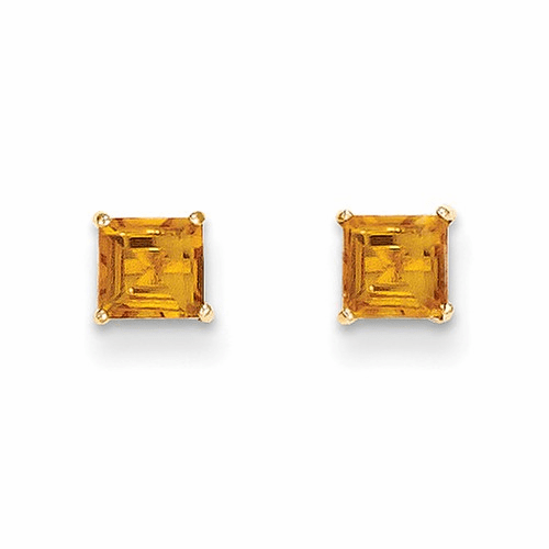 14k Madi K Citrine 4mm Square Post Earrings Se2293