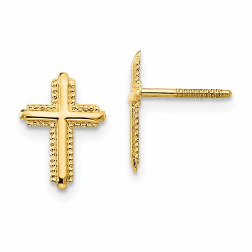 14k Madi K Cross Post Earrings Se2212