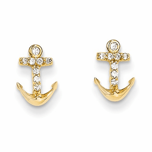 14k Madi K Cz Anchor Post Earrings Se2346