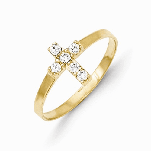 14k Madi K Cz Cross Baby Ring Gk591