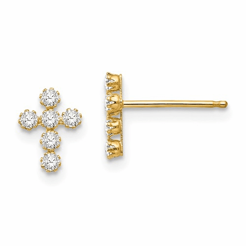 14k Madi K Cz Cross Post Earrings Se758