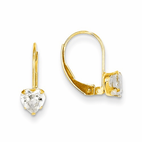 14k Madi K Cz Heart Leverback Earrings Se2154