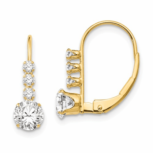 14k Madi K Cz Leverback Earrings Se2152