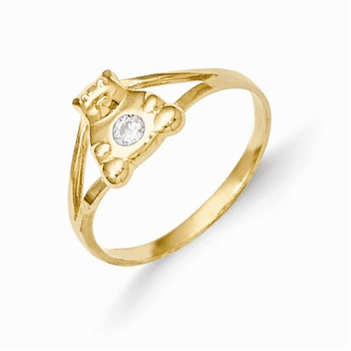 14k Madi K Cz Teddy Bear Baby Ring Se2388