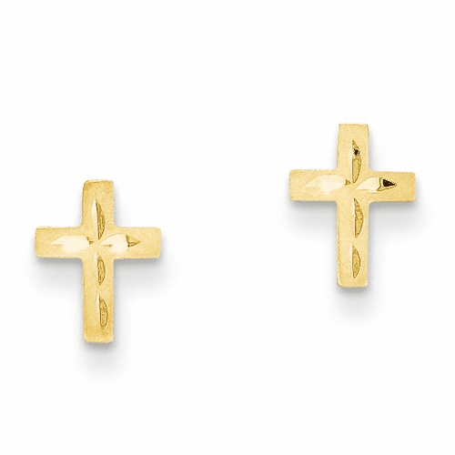 14k Madi K Diamond Cut Cross Earrings Gk185