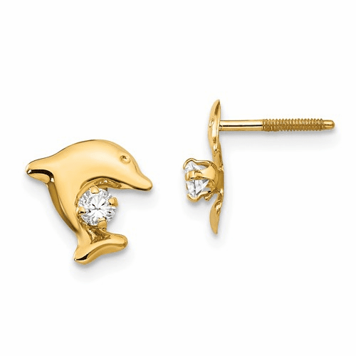 14k Madi K Dolphin W/cz Post Earrings Se2229