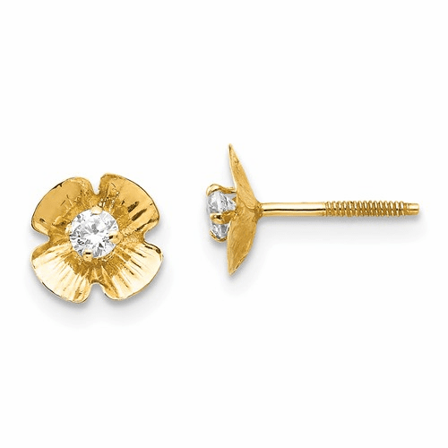 14k Madi K Flower 2.5mm Cz Post Earrings Se2222
