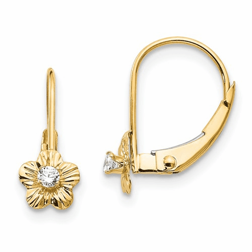 14k Madi K Flower W/cz Leverback Earrings Se2247