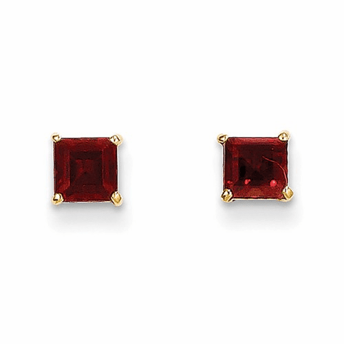 14k Madi K Garnet 4mm Square Post Earrings Se2286