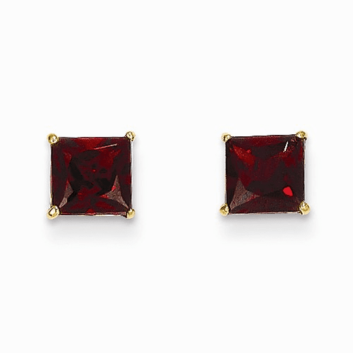 14k Madi K Garnet 5mm Square Post Earrings Se2287