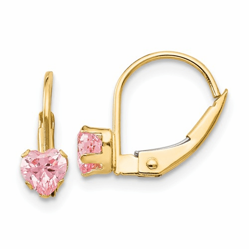 14k Madi K Leverback 4mm Pink Cz Earrings Gk583