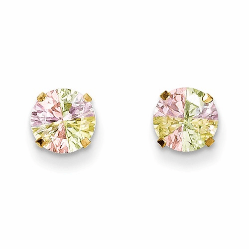 14k Madi K Multi-color Cz 6mm Post Earrings Se2301