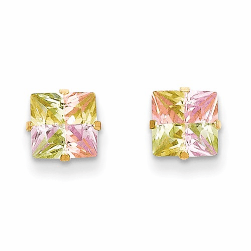 14k Madi K Multi-color Cz 6mm Square Post Earrings Se2302