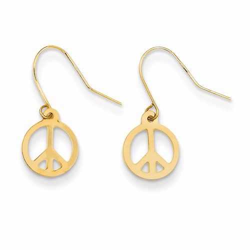 14k Madi K Peace Sign Dangle Earrings Se1453