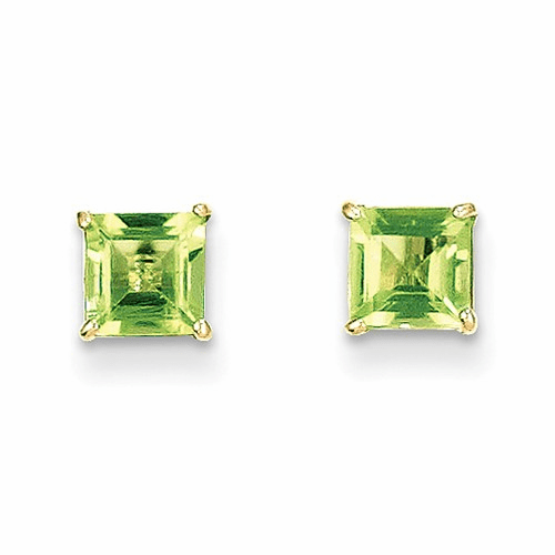 14k Madi K Peridot 5mm Square Post Earrings Se2290