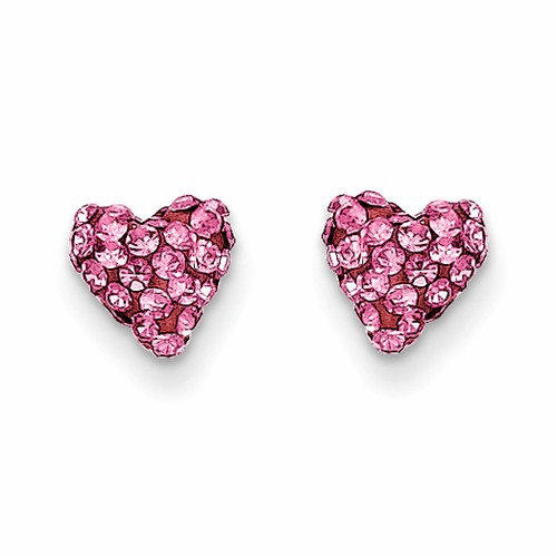 14k Madi K Pink Crystal Heart Post Earrings Se2207