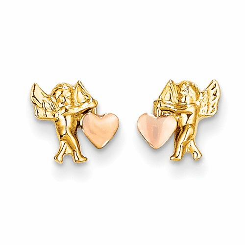 14k Madi K Polished & Rhodium Cupid Heart Post Earrings Se319