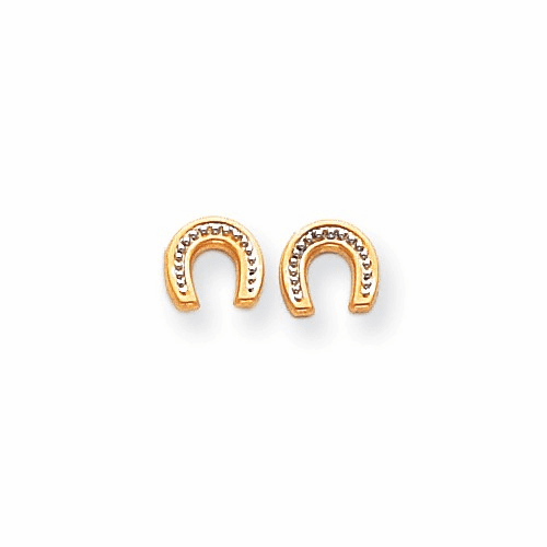 14k Madi K Polished & Rhodium Horseshoe Post Earrings Se352