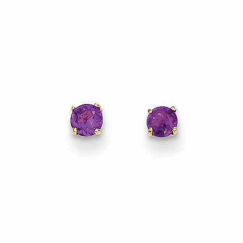 14k Madi K Round Amethyst 3mm Post Earrings Se2276