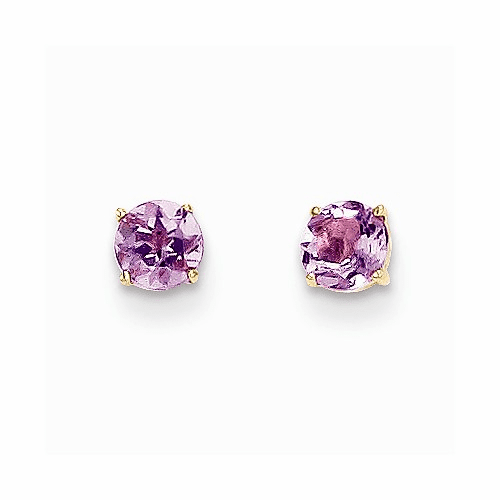 14k Madi K Round Amethyst 4mm Post Earrings Se2277