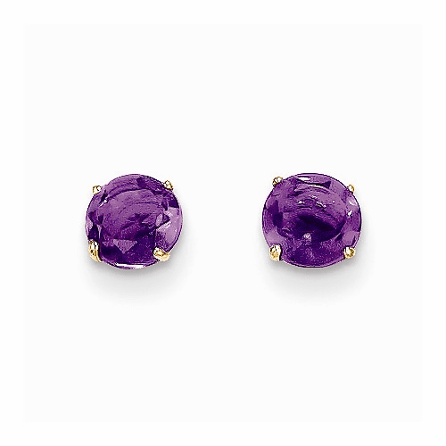 14k Madi K Round Amethyst 5mm Post Earrings Se2278