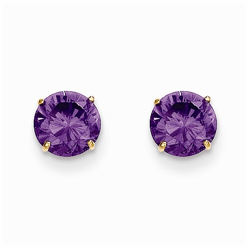 14k Madi K Round Amethyst 6mm Post Earrings Se2279