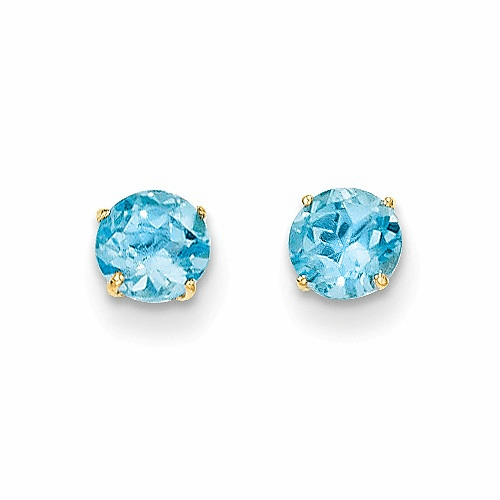 14k Madi K Round Blue Topaz 5mm Post Earrings Se2283