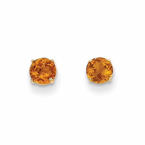 14k Madi K Round Citrine 4mm Post Earrings Se2291
