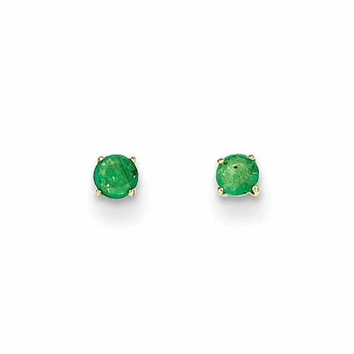 14k Madi K Round Emerald 3mm Post Earrings Se2295