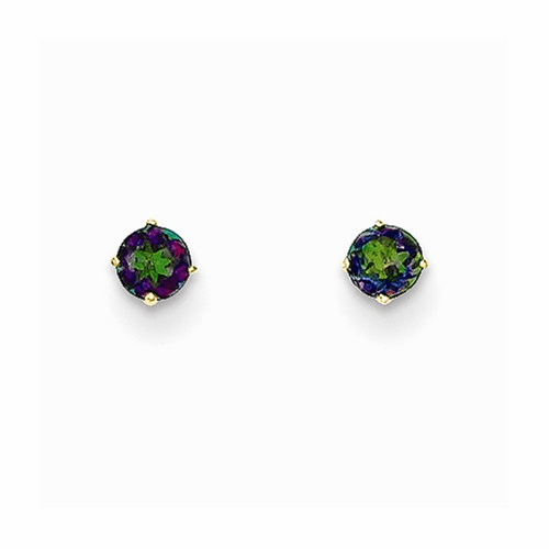 14k Madi K Round Mystic Topaz 3mm Post Earrings Se2299