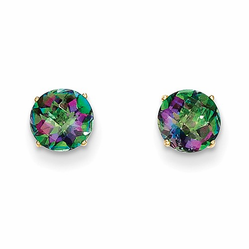 14k Madi K Round Mystic Topaz 6mm Post Earrings Se2298