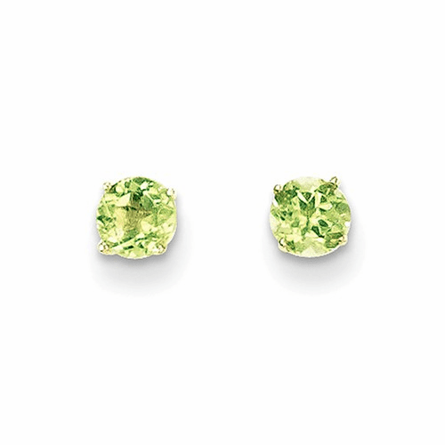 14k Madi K Round Peridot 4mm Post  Earrings Se2288