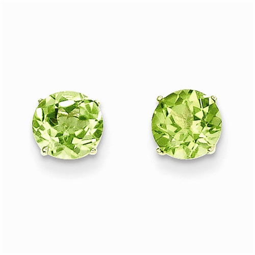 14k Madi K Round Peridot 6mm Post Earrings Se2289