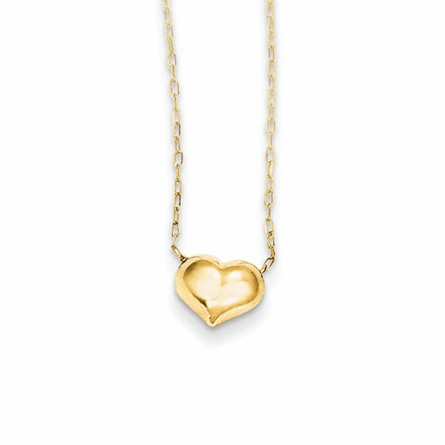 14k Madi K Small Hollow Heart W/ Chain Necklace Gk623