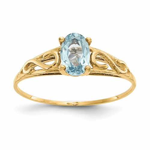 14k Madi K Synthetic Aquamarine Ring Gk277