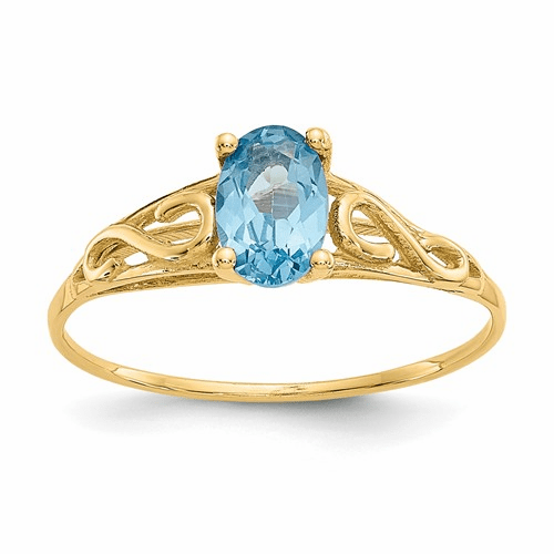 14k Madi K Synthetic Blue Zircon Ring Gk286