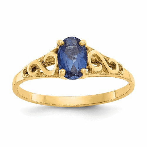 14k Madi K Synthetic Sapphire Spinel Ring Gk283