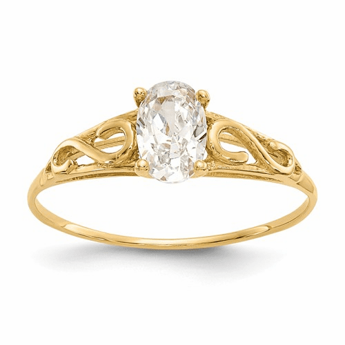 14k Madi K Synthetic White Spinel Ring Gk278