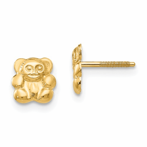 14k Madi K Teddy Bear Screwback Earrings Gk174