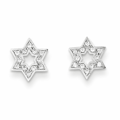 14k Madi K White Gold Cz Star Of David Earrings Se2201