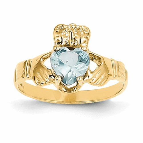 14k March Birthstone Claddagh Ring R489