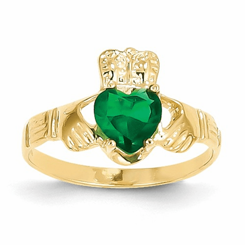 14k May Birthstone Claddagh Ring R491