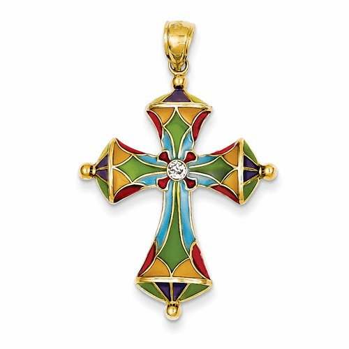 14k Multi Color Acrylic Cross Pendant C4486