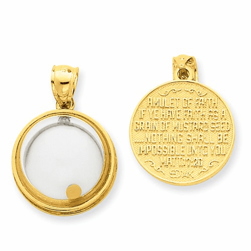 14k Mustard Seed Domed If Ye Have Faith Pendant Rel164