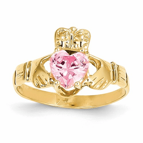 14k October Birthstone Claddagh Ring R496