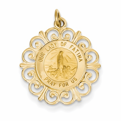 14k Our Lady Of Fatima Medal Pendant Xr667
