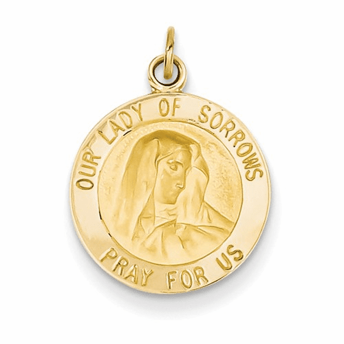 14k Our Lady Of Sorrows Medal Charm D3758