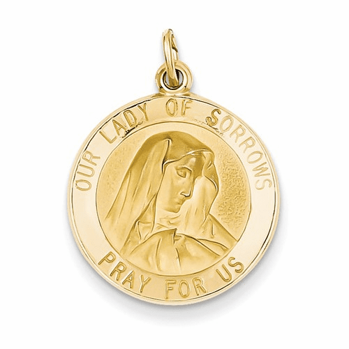 14k Our Lady Of Sorrows Medal Pendant D3759