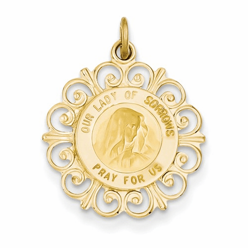 14k Our Lady Of Sorrows Medal Pendant D3760