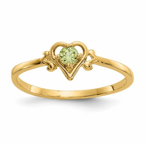 14k Peridot Birthstone Heart Ring Yc431
